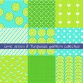 Lime green and turquoise pattern collection. Vector texture, print,paper