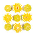 Lime and lemon fresh fruits assorted on white background clipping path included Stock Photos