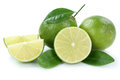 Lime limes slice organic fruits isolated on white Royalty Free Stock Photo