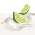 Lime slices falling in cream splash isolated Royalty Free Stock Image