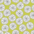 Lime slices seamless pattern in black and white on yellow green background