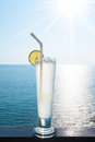 Lime soda with nice sea view of lanta island krabi thailand Royalty Free Stock Photos