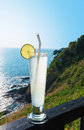 Lime soda with nice sea view of lanta island krabi thailand Royalty Free Stock Image