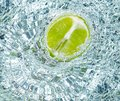 Lime in water Royalty Free Stock Photos