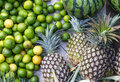 Lime watermelon and pineapple different fresh fruits on a market Stock Image