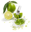 Lime and zest with leaves with zester on a white background Stock Image