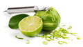 Lime and zest making isolated a white background Stock Image