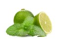 Limes and mint isolated on white background see my other works in portfolio Royalty Free Stock Photography