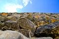 Limestone blocks against the sky Royalty Free Stock Photo
