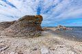 Limestone cliff on the rocky coast of gotland sweden rauk island fårö Royalty Free Stock Photos
