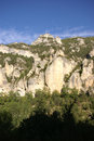 Limestone cliffs and forest near the town of entraygues france Royalty Free Stock Photo