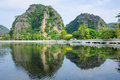 Limestone cliffs ngo dong river in tam coc grotto ninh binh province vietnam Royalty Free Stock Photography