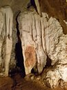 Limestone formation chalk rock stone inside stalactite cave rain water river through this in pai with a tour chiang mai Royalty Free Stock Photo