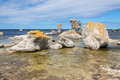 Limestone formations in the baltic sea locally known as raukar on fårö island gotland sweden Stock Photos