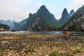 Limestone hills at the li river in south china Stock Photo