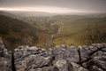 Limestone pavement overlooking Malham Beck and Dale in Yorkshire Royalty Free Stock Image