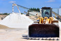 Limestone quarry with modern crushing and screening equipment Stock Images