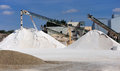 Limestone quarry with modern crushing and screening equipment Royalty Free Stock Photo