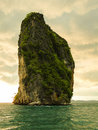 Limestone rock in the andaman sea portrait shot solitaire located phang nga bay thailand Royalty Free Stock Photography