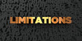 Limitations - Gold text on black background - 3D rendered royalty free stock picture