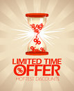 Limited time offer design with hourglass hottest discounts Royalty Free Stock Photo