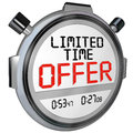Limited time offer discount savings clerance event sale the words on a stopwatch or timer to illustrate the need to hurry to take Stock Image