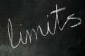 Limits on blackboard word written with chalk Royalty Free Stock Photo