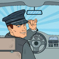Limousine Driver Inside a Car. Chauffeur Saluting Passenger. Pop Art illustration Royalty Free Stock Photo