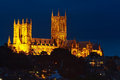 Lincoln cathedral at night illuminated against the sky Royalty Free Stock Photos
