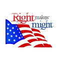 Lincoln day right makes might text placed above the us flag Royalty Free Stock Photography