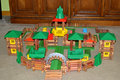 Lincoln log toy castle a built by some boys a magical kingdon of sorts Royalty Free Stock Photo