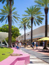 Lincoln road a famous shopping street in miami beach pedestrian boulevard Royalty Free Stock Photo
