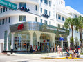 Lincoln road a shopping boulevard in miami beach usa august tourist landmark and Royalty Free Stock Images