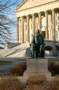 Lincoln statue of abraham on the kansas state capitol grounds Stock Photo