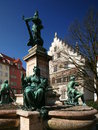 Lindau a fountain across from the lake constance town hall in bavaria Royalty Free Stock Photography