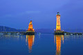 Lindau harbor at dusk Royalty Free Stock Photo