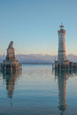 Lindau harbor of in germany Stock Images