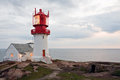 Lindesnes fyr beautiful lighthouse on the edge of rocky sea coast south norway beacon Stock Photography