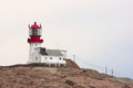 Lindesnes fyr lighthouse in norway may on the peninsula neset photographed from the sea on may at this is Stock Image