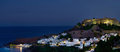 Lindos by night panorama of rhodes greece Royalty Free Stock Photo