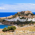 Lindos rhodes greece europe Stock Afbeeldingen