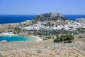 Lindos town in rhodes greece Stock Images