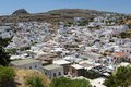 Lindos town in rhodes greece Stock Photo