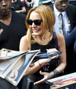 Lindsay lohan after her david letterman appearance in new york city just two weeks before her rehab assignment on the hamptons in Stock Photography