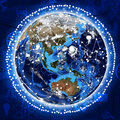 Line around the earth concept of globalization Stock Photo