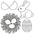 Line art black and white easter icon set egg shell bunny chicken nest icon set.