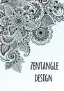 Line art decorative flowers zentangle style inspired. Vector design frame. High quality drawn elements in beautful composition. Royalty Free Stock Photo