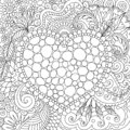 Line art design of tones arrange in hearted shape and surrounded by beautiful flowers and leaf for card, print on product,backgrou