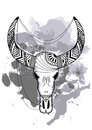 Line art hand drawing black bull skull isolated on white background with watercolor blots. Dudling style. Tatoo. Zenart