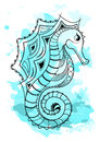 Line art hand drawing black sea horse isolated on white background with blue watercolor blots. Doodle style. Tattoo